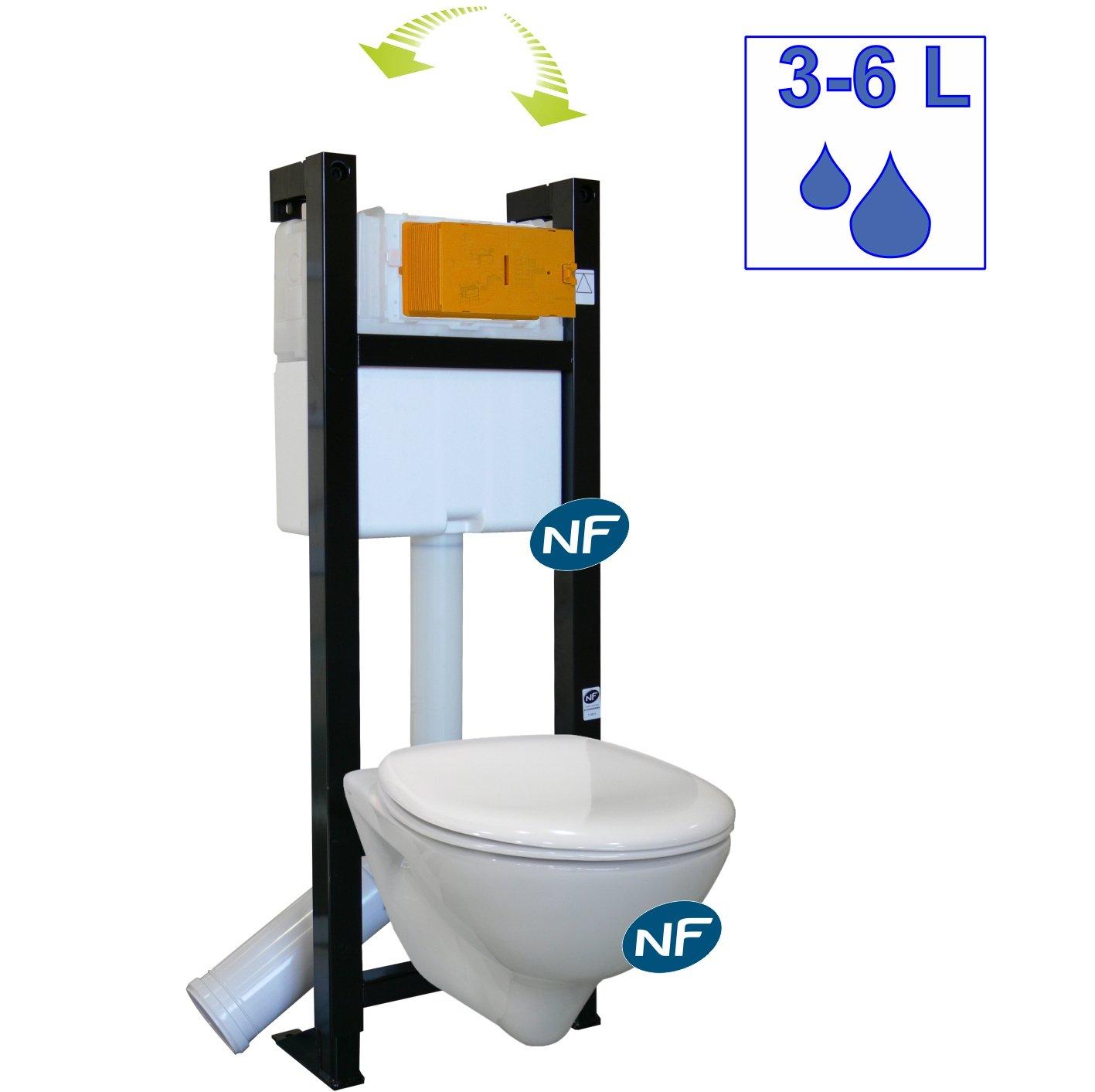 Baignoire et sanitaire wc carrelage - Pack wc suspendu noir ...